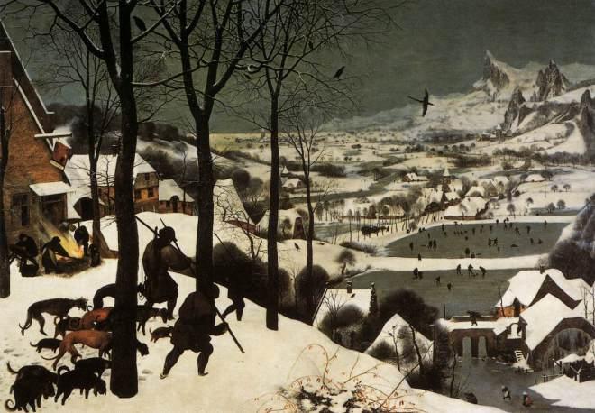 Caçadores na neve